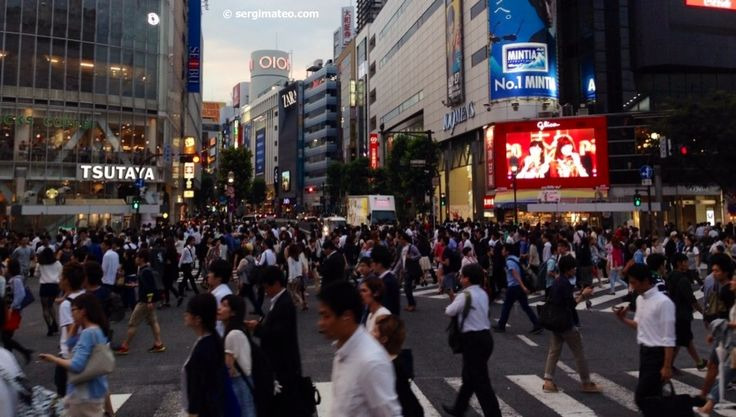 Shibuya crossing street intersection in Tokyo.
