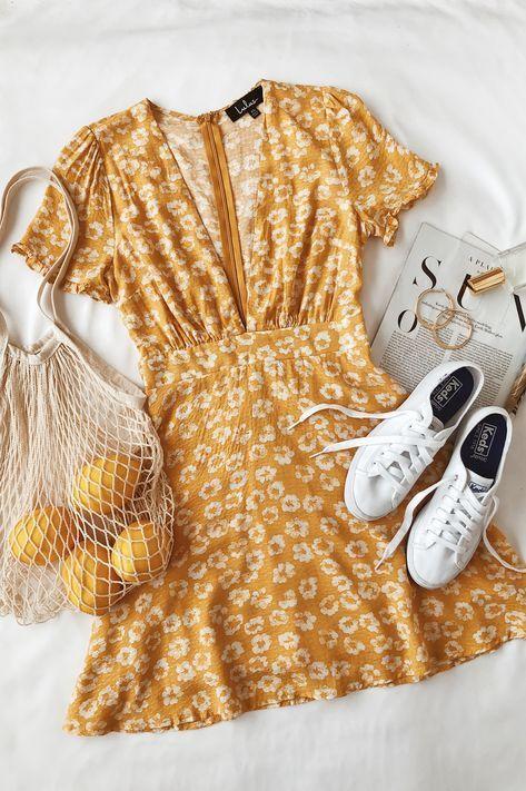 Lulus | Garden Explorer Mustard Yellow Floral Print Mini Dress | Size Medium | 100% Polyester 1