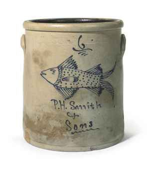 Six Gallon Straight-sided Stoneware Crock with Fish Decoration in Cobalt Blue .... P.H. Smith & Sons ....