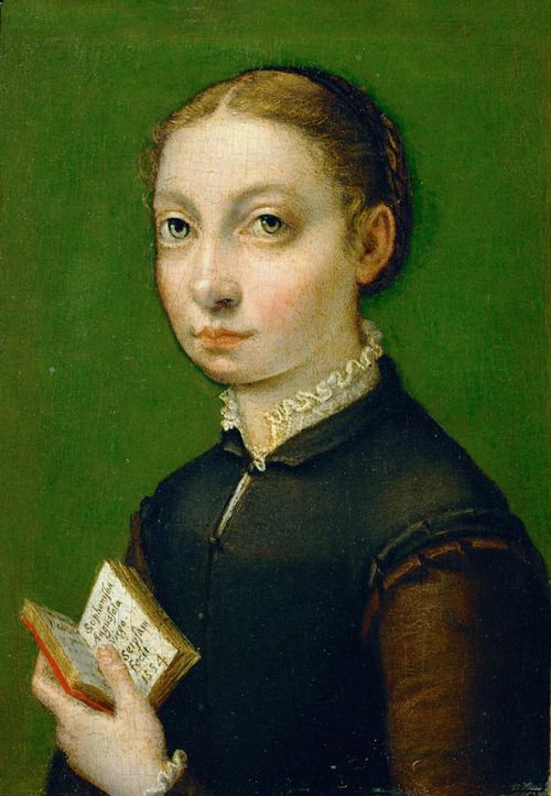 Very Clever to Have Signed Her Portrait In the Little Volume She's Holding, Sofonisba Anguissola, Self-Portrait,1554.