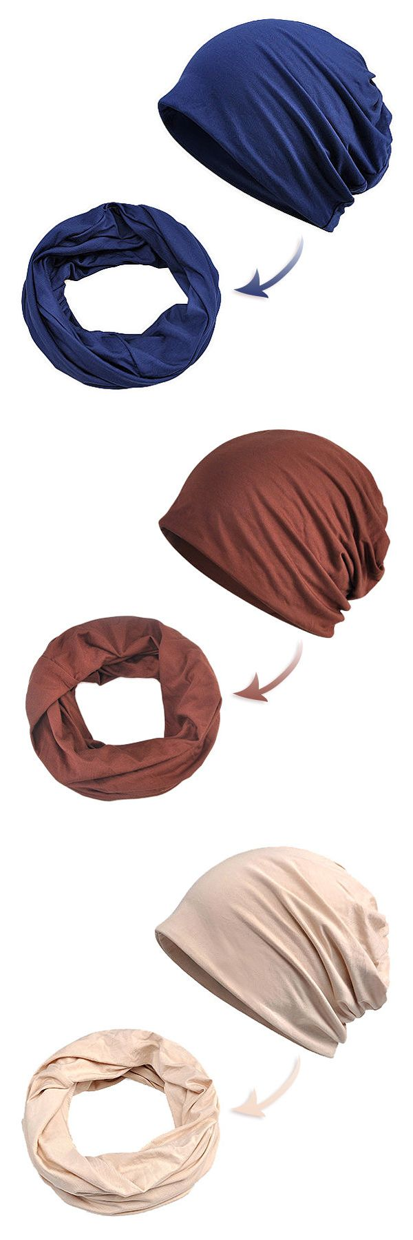 Women Multi-function Breathable Cotton Beanie Hats Pure Color Beanie Casual Windproof Cap #fashion #style #hat #winter
