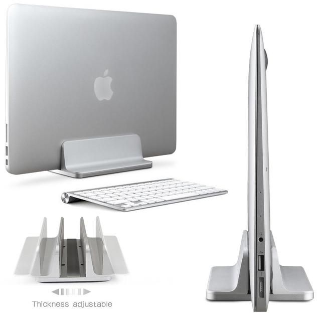 Aluminum Space-Saving Vertical Laptop Stand Adjustable Desktop Holder fo MacBook
