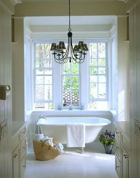 tub: Cottages Style, Country Cottages, Bath Tubs, Window, Clawfoot Tubs, Bathtubs, House, Cottages Bathroom, Master Bathroom