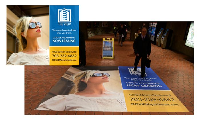 A floor graphic ImageWorks created for use at the Ballston Metro station.
