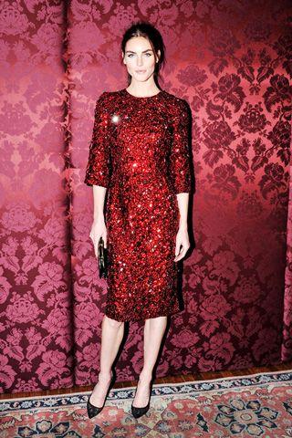 Hilary Rhoda, in Dolce & Gabbana.