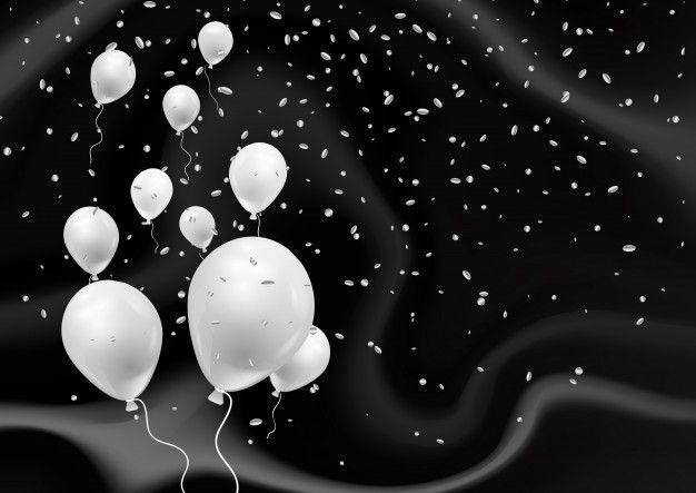 Silver Balloons On Elegant Black Marble Texture Silver Balloon Marble Texture Flower Background Wallpaper