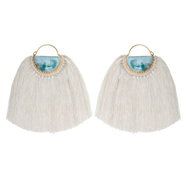 Peacock Larimar earrings - $179. Handcrafted oversized statement hoop earrings comprising of polished larimar stone inset detail, with gold plated finishings and setting, and long silk cotton tassel detail. Lovingly designed in Brisbane by luxe Australian designer jewellery label Angle Diamond Dot. www.savethelastpinker.com.au/shop/peacock-larimar-earrings/