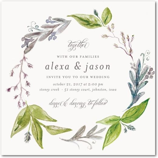 Stunning Wreath - Signature White Textured Wedding Invitations with Square Corners