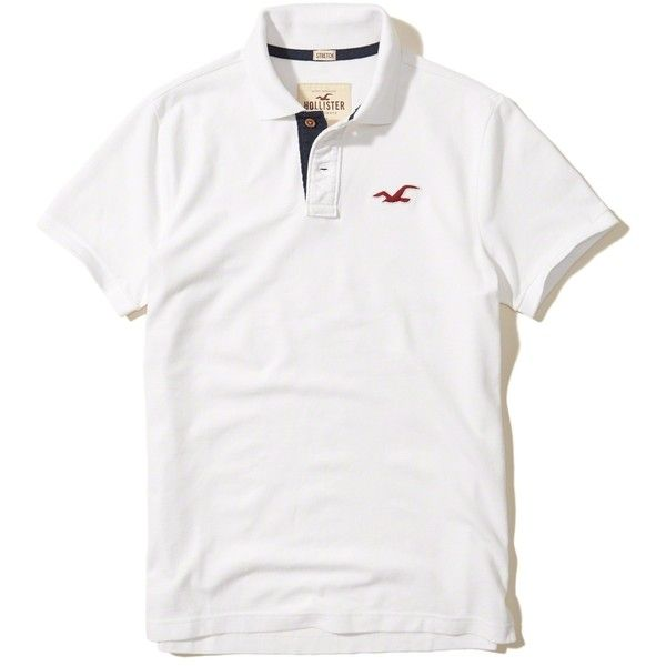 Hollister Stretch Pique Icon Polo (€22) ❤ liked on Polyvore featuring men's fashion, men's clothing, men's shirts, men's polos, white, mens classic fit shirts, mens pique polo shirts, mens slim fit shirts, mens polo shirts and mens tailored shirts