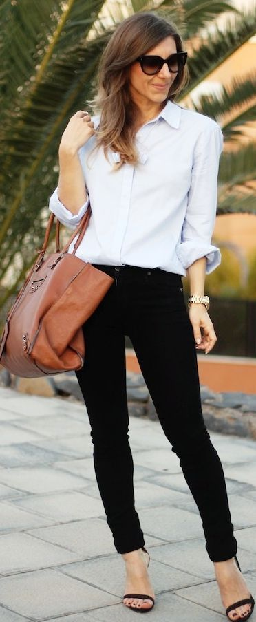 Sandro Baby Blue Button Up Shirt, black pants and brown purse