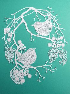 Wrens and Berries Personal Use Papercut Design Template - DIY