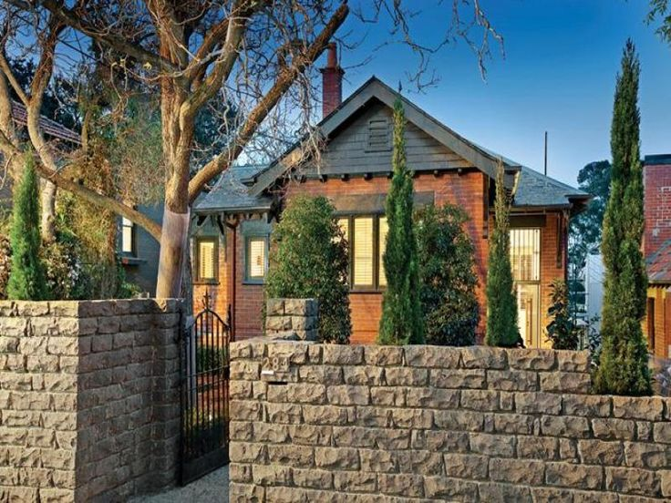 facade ideas with weatherboard Love stone fence with gate