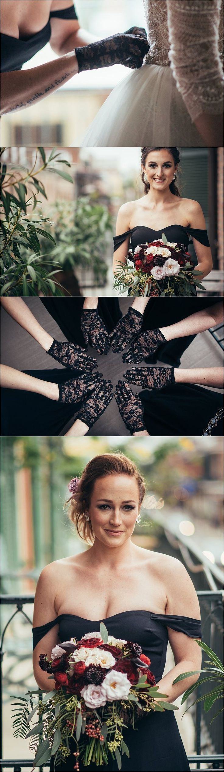 Sapphire Events | Eric James Photography | New Year's Eve Wedding | Gothic Wedding | Twilight Inspired Wedding | French Quarter Wedding | New Orleans Wedding | Black Bridesmaids Dresses | Tattoo | Quote Tattoo | Lace Gloves | bridesmaids