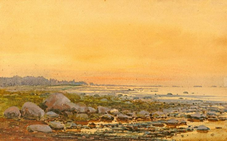 Alexander Benois (1852 — 1928, Russia) At sunset on the sea. 1889  watercolor and pencil on paper. 15.8 x 24.7 cm.  Александр Александрович Бенуа (Конский)