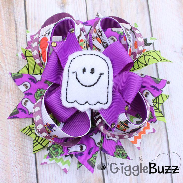 Halloween Ghost Hair Bow-purple, halloween, stacked, ghost