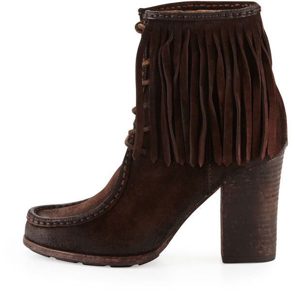 Frye Parker Fringe Lace-Up Ankle Boot ($335) ❤ liked on Polyvore featuring shoes, boots, ankle booties, ankle boots, fringe ankle boots, moccasin ankle boots, fringe booties and fringe moccasin booties