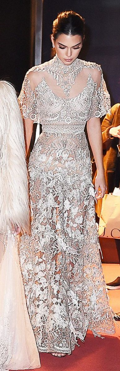 Kendall Jenner: Earrings – Nigaam Dress – Elie Saab Shoes – Jimmy Choo