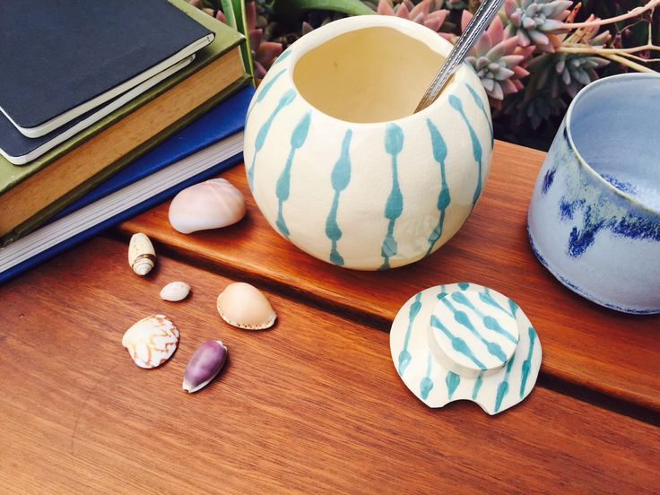 Handmade sugar bowl, hand painted, teardrop print, made by Adele Maggie, available on Etsy