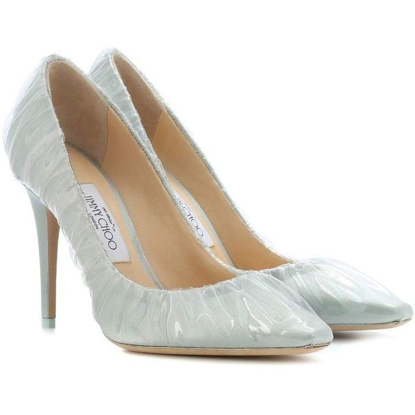 Jimmy Choo X Off-White Anne 100 Satin Pumps ($950) ❤ liked on Polyvore featuring shoes, pumps, blue, satin shoes, vintage white shoes, champagne shoes, blue satin pumps and off white pumps