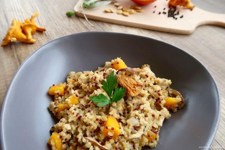 Le quinotto vous connaissez? Et bien, c'est tout simplement du quinoa, mais préparé comme un risotto!! Dans cette recette originale, nous avons choisi de mettre en avant deux délicieux produits de saison: le potiron et le champignon!!
