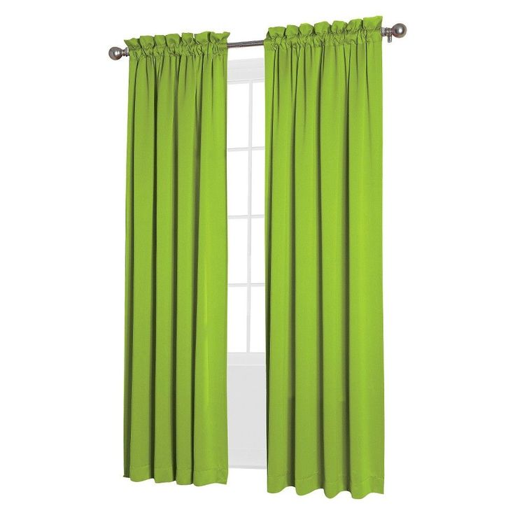 "Seymour Room Darkening Pole Top Curtain Panel Lime (Green) (54""x95"") Sun Zero"