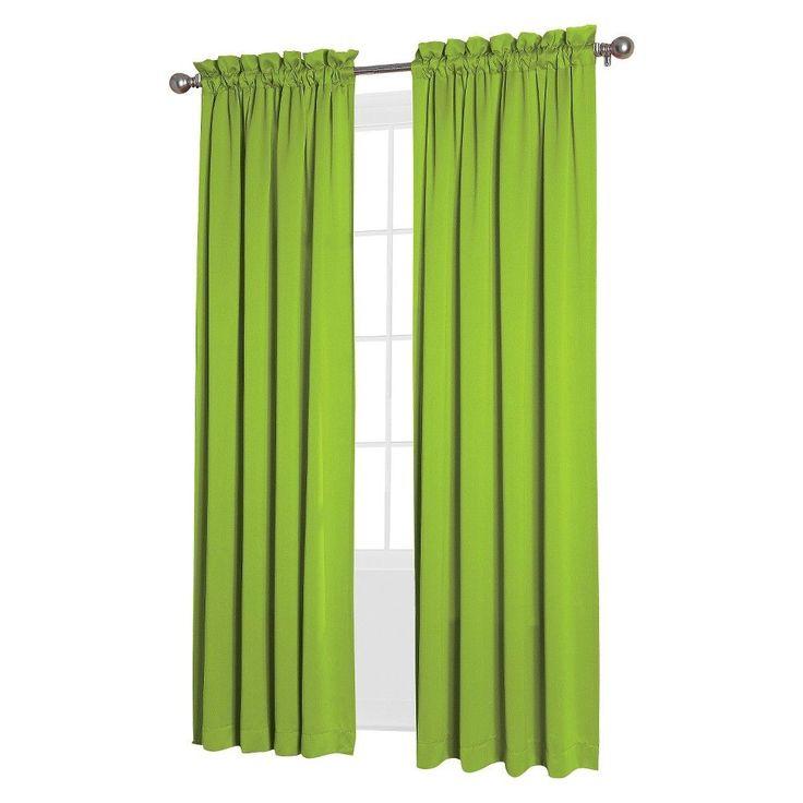 "Seymour Room Darkening Pole Top Curtain Panel Lime (Green) (54""x95"") Sun Zero"