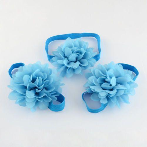 2Sets New Baby Flower Headbands Toddler Infant Barefoot Sandals Set OHAR-R108-05