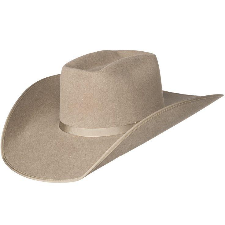 "Rodeo King 7X Ash/Natural Bound Edge Open Crown 4-1/2"" Brim Natural Band Felt Cowboy Hat"