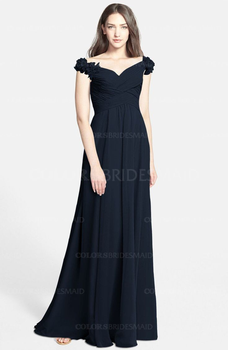 Navy Blue Gorgeous Fit-n-Flare Off-the-Shoulder Sleeveless Zip up Chiffon Bridesmaid Dresses (Style D49064)