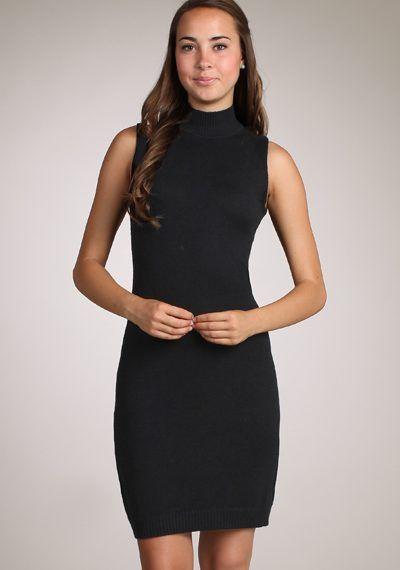 M-Rena Mock Neck Sleeveless Soft Knit Sweater Dress