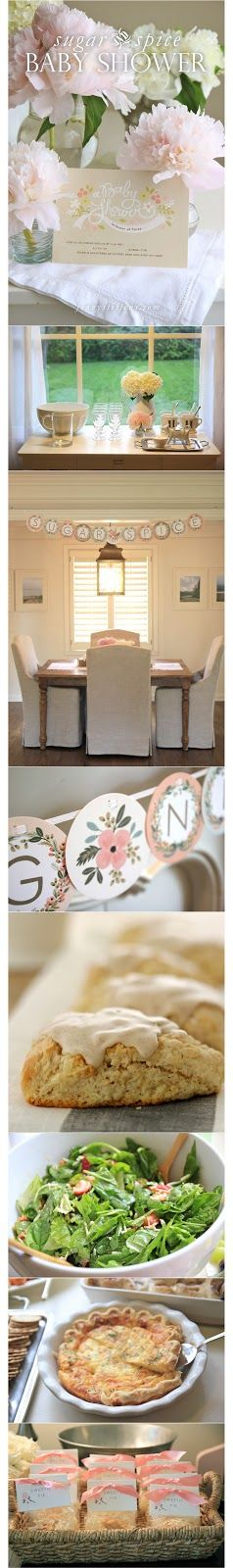 Baby Girl Shower | Brunch Menu, Peonies & Mini Pies Like the drink station, sweetie pie party favors,