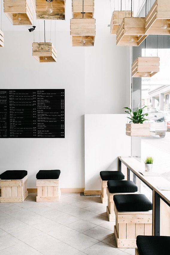 South Yarra store of Pressed Juices, a small chain of cold-pressed juice bars in Australia - Recycle old crates -