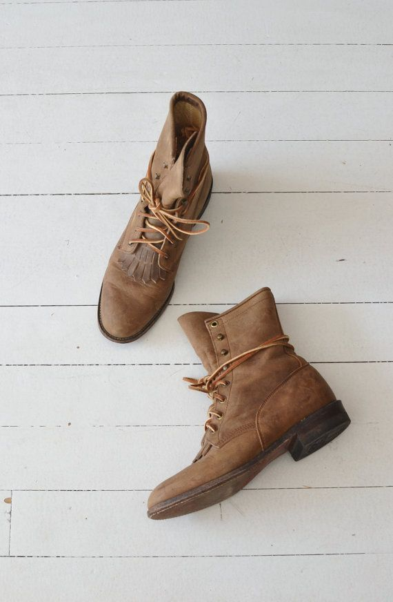 Justin Roper boots vintage brown ankle boots by DearGolden