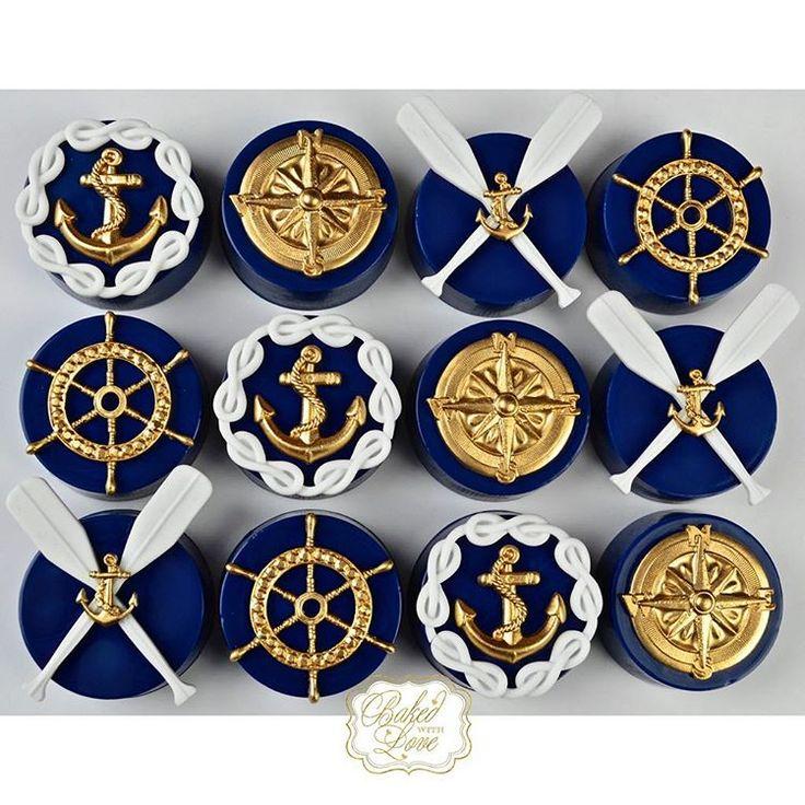 Nautical themed chocolate covered Oreos ⚓️❤️ #nautical #nauticaloreos #chocolate…
