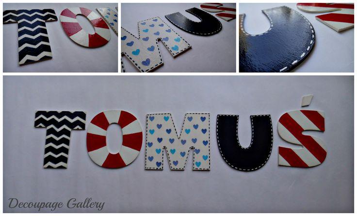 Kolorowe literki, imię - Więcej na mojej stronie na fb - Decoupage Gallery