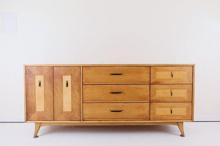 Mid Century Modern Sideboard Lowboy Dresser Nine Drawers Two Tone Ebon – elää life
