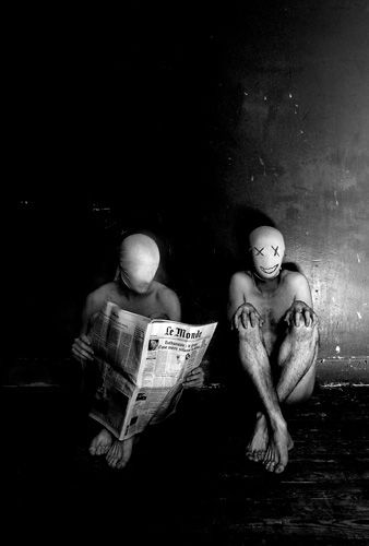 ♂ Dream Imagination Surrealism Surreal Photography Black and white faceless man reading newspaper