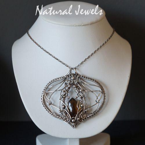 Kristall - Silberne Halskette Edelstein Whiskey Quarz - ein Designerstück von Natural-Jewels bei DaWanda