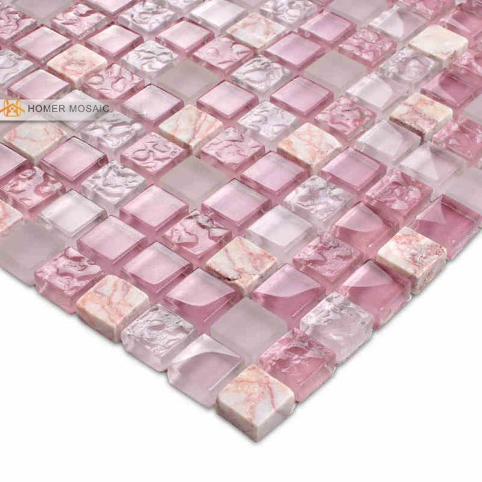 romantic rose pink glass mixed marble tile 12x12 bathroom mosaic ...
