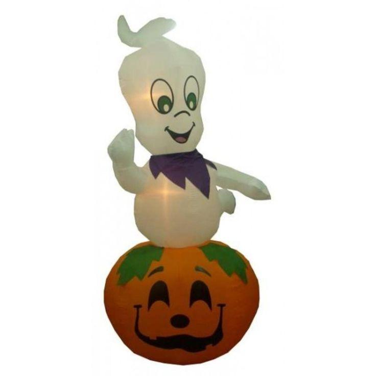 BZB 9' Airblown Inflatable Ghost on Pumpkin Lighted Halloween Yard Art Decoration 30866732
