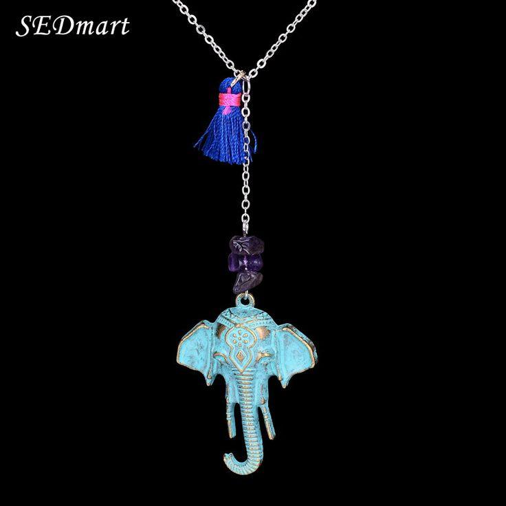 SEDmart Vintage Elephant  Gravel Tassel Pendant Necklace Brand Bronze Leaf Imitation Pearl Handmade Necklace For Women #Affiliate