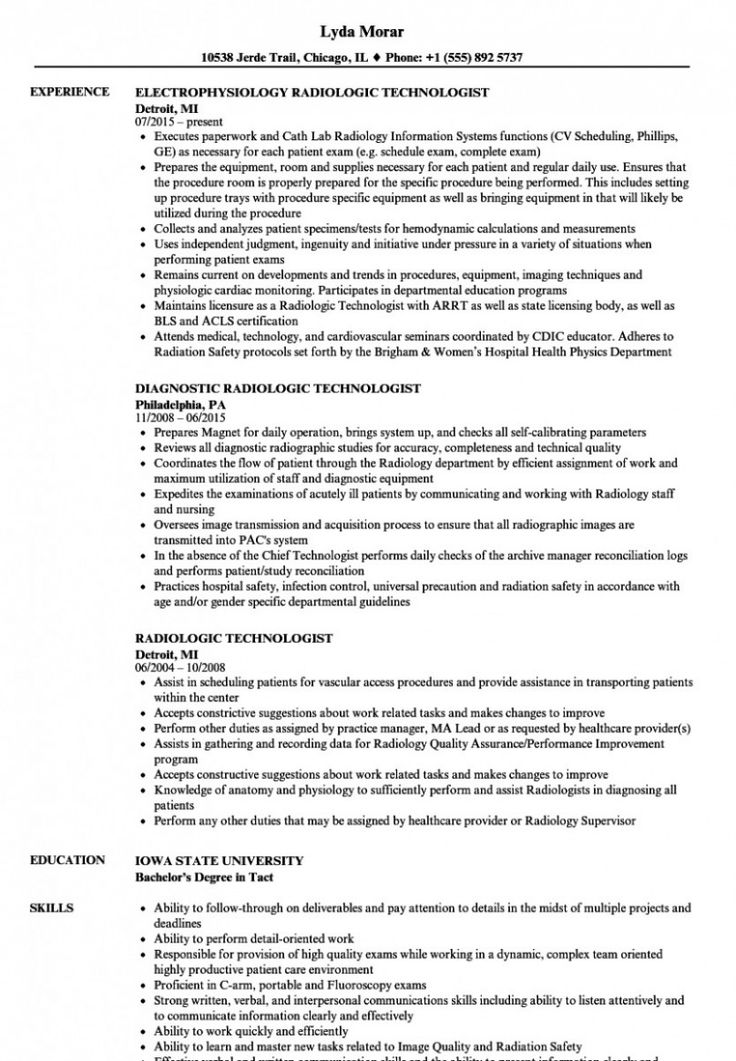 x ray tech resume job description