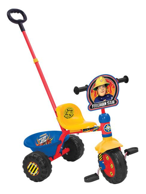 Fireman Sam Trike Sturdy tubular frame trike with removable parent handle - Wide blow moulded wheels for extra stability.  This great Fireman Sam Trike is ideal for use in the garden and outdoors! It also comes with a rear bucket to carry teddies, drinks, books, whatever your little one would like to take with them on their journey. This trike is red, blue and yellow and features some great Fireman Sam graphics!
