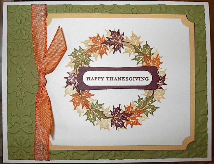 Wreath card made using SU Autumn Days stamp set. Linda Tolson.