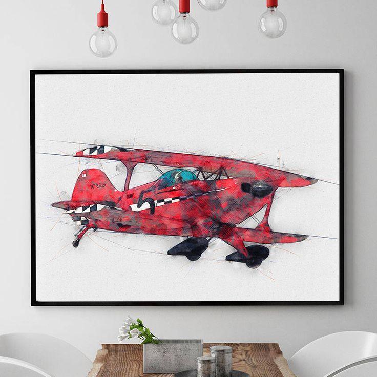 Airplane Nursery Print, Aviation Wall Art, Airplane Decor, Aviation Gifts, Nursery Decor, Kids Room Wall Art, Giclee (N302) by PointDot on Etsy