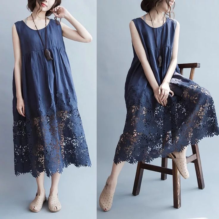 [I WOULD WEAR DIFFERENT SHOES WITH THIS, BUT THE DRESS IS SO PRETTY] - Blue lace loose dresses 6.30 new arrivals
