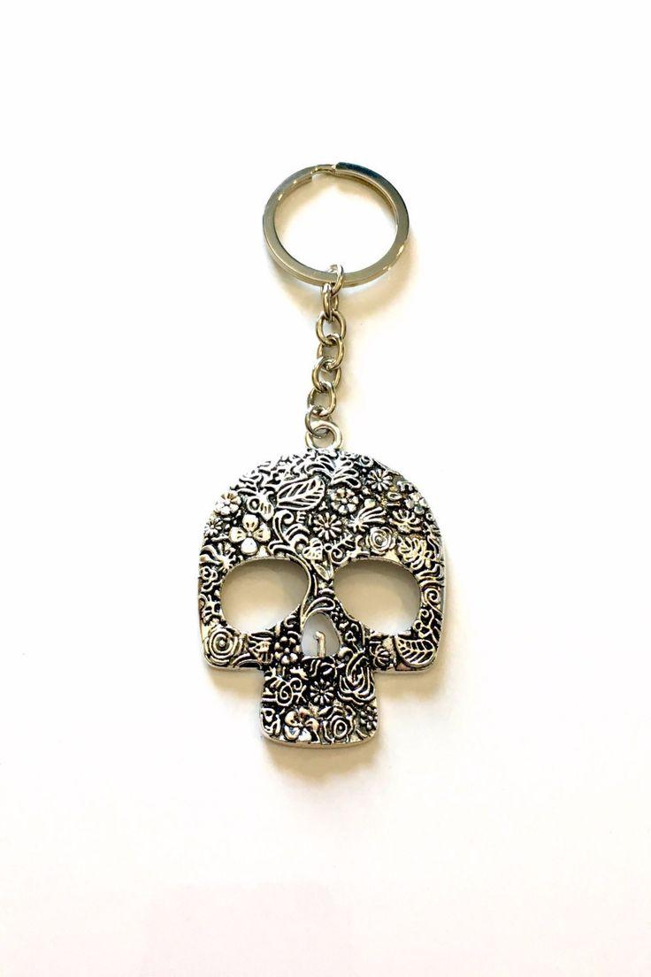 Large Skull Keychain, Mexican Sugar Skull Key Chain, Calavera Mexico Catrina Keyring Silver Jewelry present Teen Teenage Boy Man Men Girl by aJoyfulSurprise on Etsy