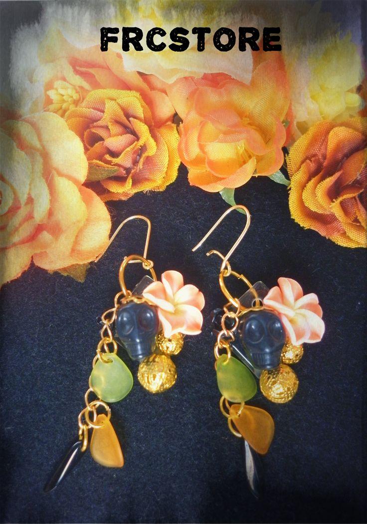 DIY earrings - Flowers and Skull www.frcstore.cz