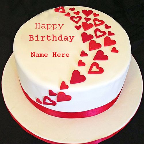 Happy Birthday Wishes By Name ~ Happy birthday heart cake with your name for profile dp personalize wishes