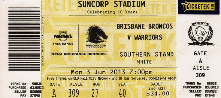 Broncos vs Warriors, Suncorp Stadium, Brisbane 2013.